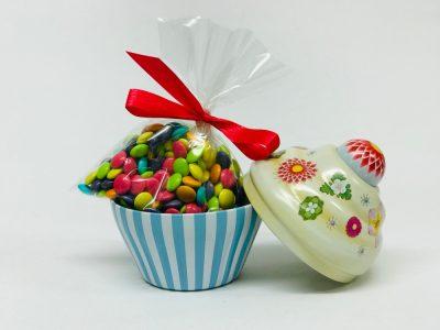 Petit Cupcake rayé ciel