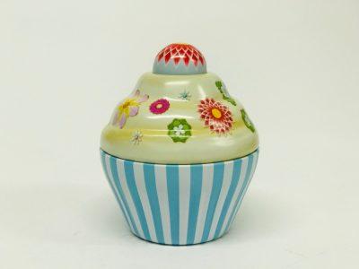 Petit Cupcake rayé bleu ciel