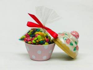 Petit Cupcake rose pale à pois