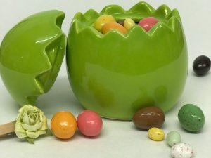 Pâques 2021 oeuf céramique ouvert rose verte